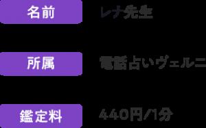 恋愛の悩みに強いヴェルニ所属・レナ先生!440円/1分~